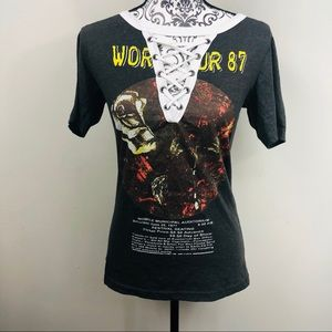 Vintage looking lace up tour tee shirt